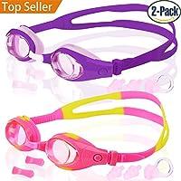 Kids Swim Goggles, Pack of 2, Swimming Glasses for...