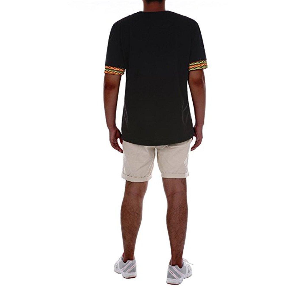 Gtealife Men's African Print Dashiki T-Shirt Tops Blouse (1-Black, XXL) by Gtealife (Image #3)