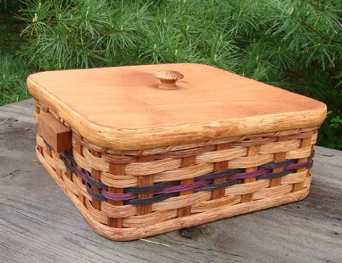 Amish Handmade Primitive Country Single Pie Carrier Basket with Wood Picnic Lid, 11