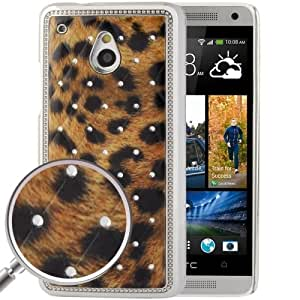 Yellowish Brown Leopard Pattern Diamond Encrusted Skin Plating Plastic Case for HTC One mini / M4