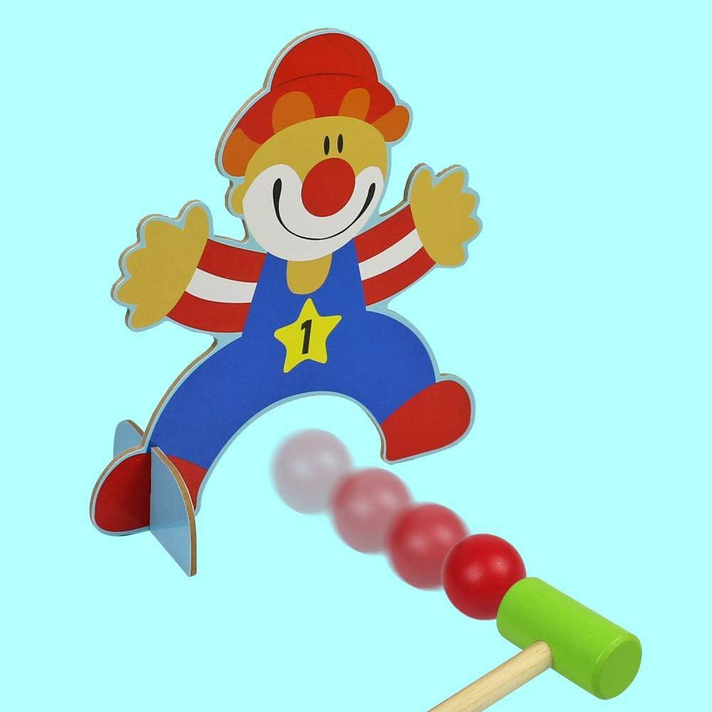 Minigolf Crocket Spiel F/ür Den Garten Drau/ßen Kinder Zirkusthema-Croquet Set mit 4 St/änder und 2 Krockets Hammer yoptote Krocket Spiel Holz Kinder