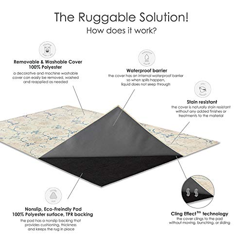 RUGGABLE Washable Stain Resistant Indoor/Outdoor, Kids, Pets, and Dog Friendly Area Rug 5'x7' Amara Grey by RUGGABLE (Image #5)