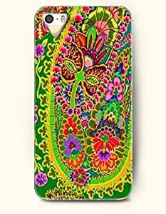SevenArc Apple iPhone 5 5S Case Paisley Pattern ( Super Bright Doodle of Swirls and Flowers )