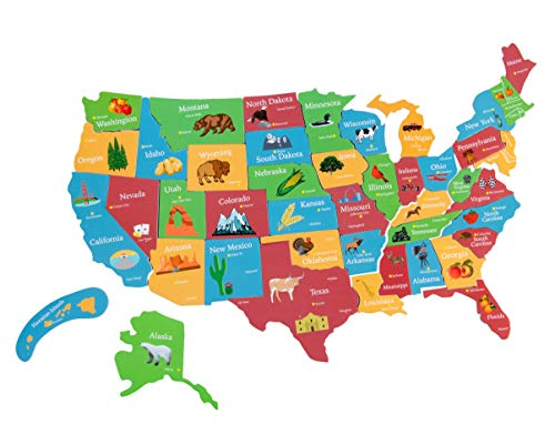 Juvale 44-Piece Magnetic U.S. Puzzle Map with Outline of The United States for Kids, 19 x 13 Inches