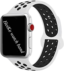 HeiKe Watch Band Compatible for Apple iWatch Band 38mm,Soft Silicone Sport Replacement Wristband with Holes for Apple iWatch Series 1/2/3/4 Nike+ Edition