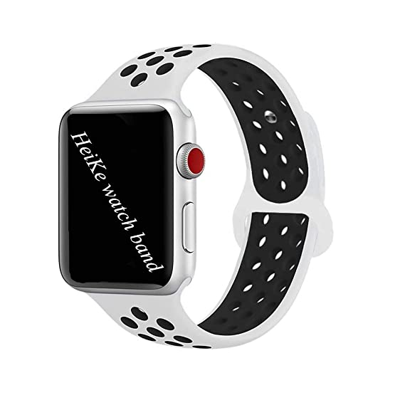 Band Nike 42mm,HeiKe Soft Silicone iWatch Sport Band,Apple Replacement Wristband Bracelet with Ventilation Holes for Apple Watch Series 3, Series 2, ...