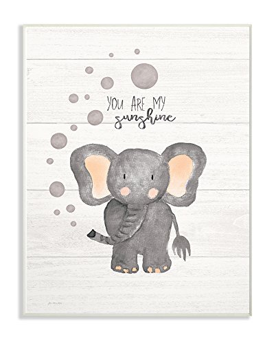 The Stupell Home Decor Collection You are My Sunshine Elephant Wall Plaque Art, Multicolor