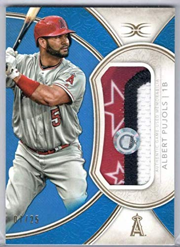 2018 Topps Definitive Collection Jumbo Relics Blue #DJRCAP Albert Pujols Multi-Colored Game-Worn Jersey Patch Card #07/25 Angels