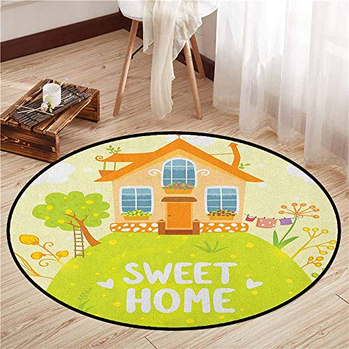 Pet Rugs,Home Sweet Home,Cartoon Style Cottage Hut on Green Hilltop with Flourishing Garden Morning,Children Bedroom Rugs,3'3