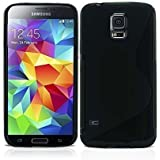 GADGET BOXX SAMSUNG GALAXY S5 MINI G906 S-LINE SILICONE GEL IN BLACK COVER CASE AND SCREEN PROTECTOR