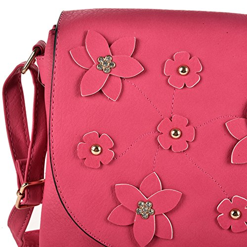Women Pu Fushia Leather Cross Body Decoration High Young Foldover Quality Fashion Bag Flower Sally qcUfpEY