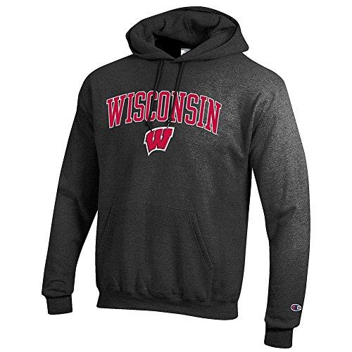 Elite Fan Shop NCAA Wisconsin Badgers Men's Hoodie Sweatshirt Dark Charcoal Gray, Dark Heather, Large