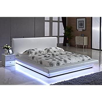 Container Furniture Direct Dyna Collection Modern Upholstered Faux Leather  Platform Bed With Headboard And Color Changing