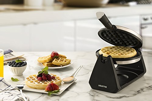 Gourmia GWM460 Stainless Steel Waffle Maker - 180 Degree Fast & Easy Flipping, Foldable Handle, Adjustable Temperature Control For Fluffy & Golden Waffles Plus Free Recipe Book