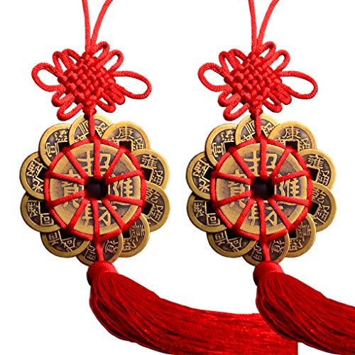 Amperer Brass Chinese Feng Shui Coins 2PCS Twelve Lucky Charm Ancient Copper Ching Coins for Prosperity Protection (E2 12coins Wealth x2)