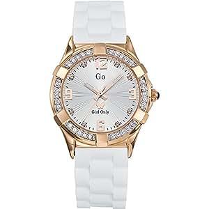 GO Girl Only 697732 - Reloj analógico de cuarzo para mujer con correa de silicona, color blanco