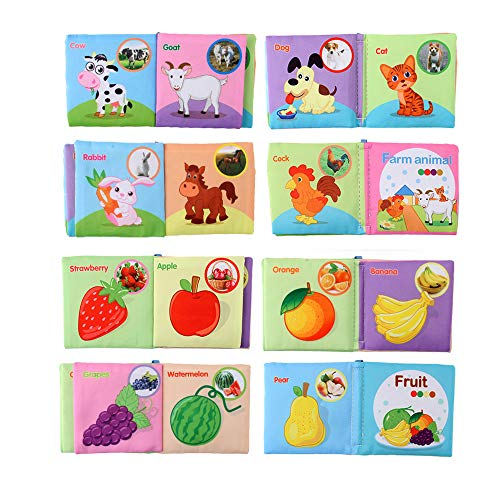 Atralo Service 8 PCS Friendly Soft Fabric Cloth Books Farm Sea Animal Fruit Vegetable Educational Cognitive Toys for Boys Girls Infants Baby