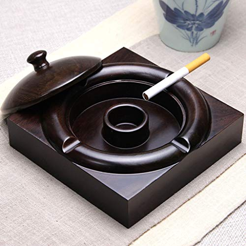 Hongteng Ashtray with Lid ,Ash Container for Smoker, Desktop Ashtray for Home Office Decoration, Black