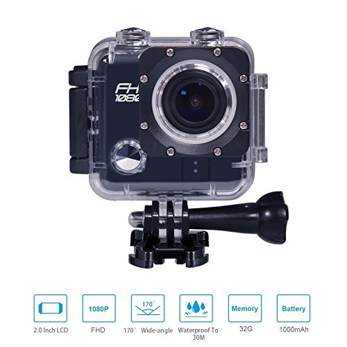 Matego Waterproof Camera Action Cam with 12MP 170 Degree Viewing Angle Lens 2 Inch Screen for Outdoor Camping Swimming Diving Riding [並行輸入品]   B07584Y4BN