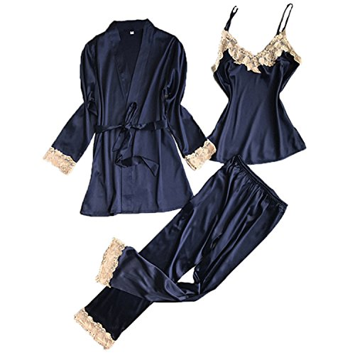 JIANGTAOLANG Three Pieces Satin Lace Padded Pajamas Sets with Long Sleeve Bathrobe Sexy V-Neck Womens ()