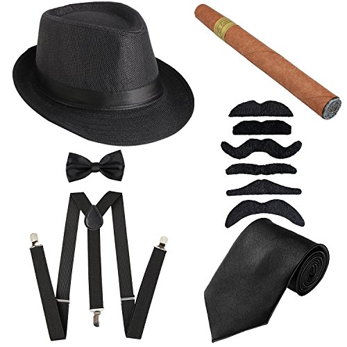 1920s Mens Accessories Hard Felt Panama Hat, Y-Back Suspenders & Pre Tied Bow Tie, Tie,Toy Cigar & Fake Mustache (OneSize, 1Black) -