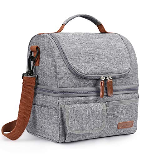 LOKASS Lunch Bag Double Deck Insulated Lunch Box Large Cooler