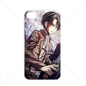 Shingeki no Kyojin Attack on Titan Manga Anime Comic Levi Apple iPhone 4 / 4s TPU Soft Black or White case (White)