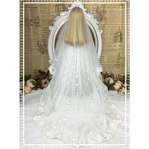 Fashion Party Gown White Dress /& Veil Wedding Dress For 1//4 BJD Doll Clothes