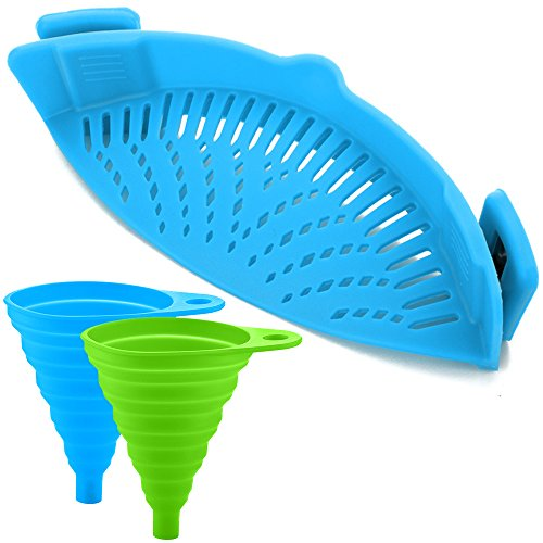 FineGood Silicone Snap Strainer with 2 Collapsible Funnels, Hands-Free Clip-on Heat Resistant Colander Pour Spout for Pasta Vegetable Noodles Pot Bowl Pan - Blue