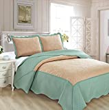 Mk Collection 3pc Full/Queen Oversize Coverlet Bedspread Set Luxury Embossed Solid Tow Tune Taupe/Spa Blue New