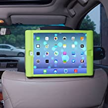 TFY Kids Car Headrest Mount Holder for iPad Air 2 - Detachable Lightweight Shockproof Anti-slip Soft Silicone Handle Case - Green