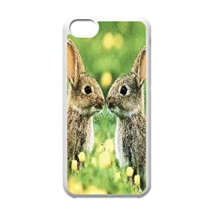 Yearinspace Kissing Bunnies IPhone 5C Cases, Girls Iphone 5c Cases for Girls with Designs {White}