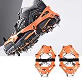 Snow Grips Crampons Traction Cleats with 16 Spikes for ICY Driveway,Shoveling Snow and Mountaineering