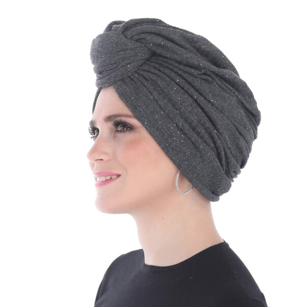 Madison Headwear Turban Headwraps for Women Featuring a Pretied Front Knot /& Soft Sparkle Finish for Cancer