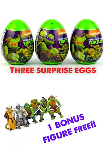 Three new Teenage Mutant Ninja Turtles surprise eggs with toy, candy sticker! As seen on YouTube videos! Great unboxing fun! (Teenage Mutant Ninja Turtles Eggs compare prices)