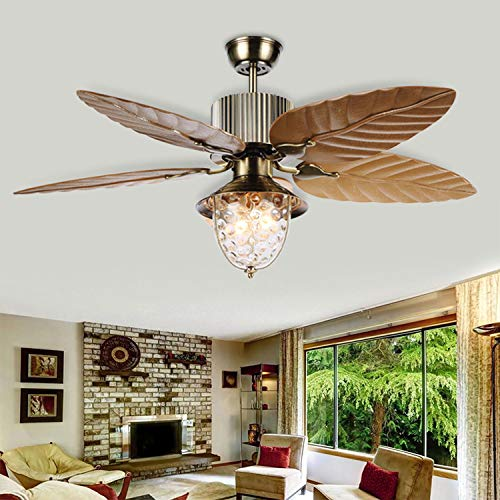 Tropical Leaf Ceiling Fan Reversible With 5 Plastic Blades and 1 Glass Light Cover Remote Control For Indoor Living Room 52 Inch Yellow