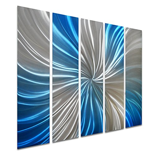 Pure Art Abstract Blue Spiral Decor - Small Metal Wall Art - Blue Silver Decoration Set of 5 Panels Measures 34