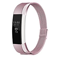 Fitbit Alta Band,Fitbit Alta HR Bands,Abeky Milanese Loop Stainless Steel Metal Replacement Bracelet Strap Wristbands with Magnetic Clasp Compatible Small Large Size