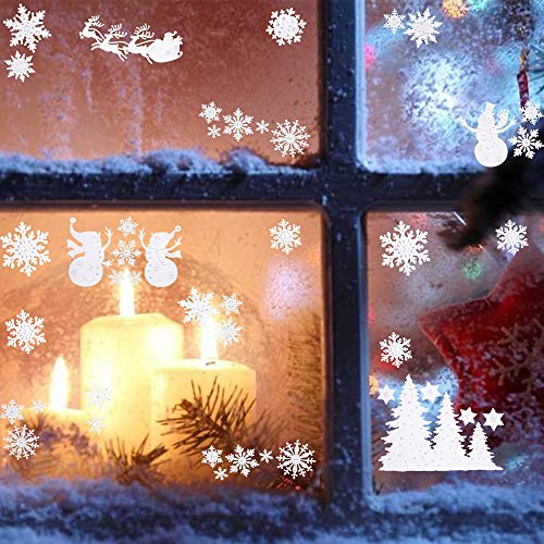 57Pcs Christmas Window Clings Stickers Snowflakes Snowman