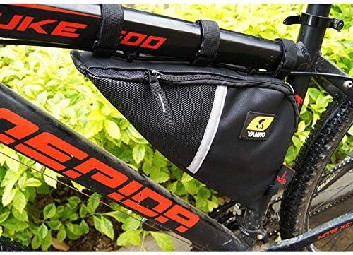 自転車フレームバッグ自転車バッグ フロントバッグ 多機能 防水 防圧 軽便 取り付け簡単 サイクリングトライアングルパック自転車W/反射トリムアクセサリキー用財布携帯電話 (Color : Black, Size : 35*8*21cm)