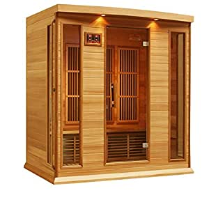 MX-K406-01Cedar Maxxus 4 Person Corner Low Emf Far Infrared Carbon Heater Sauna (Cedar Edition) - Red, , Multicolored