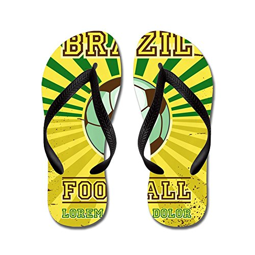 Price comparison product image Royal Lion Women's Brazil Football Soccer Lorem Ipsum Black Rubber Flip Flops Sandals 11.5-12