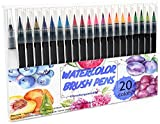 Watercolor Brush Pens Set, 20 Color Paint Markers + 1 Bonus Refillable Water Brush Pen, Soft Tip for Art, Drawing, Coloring Page, Calligraphy, Sketching and Paint Effects, Portable Non-Toxic