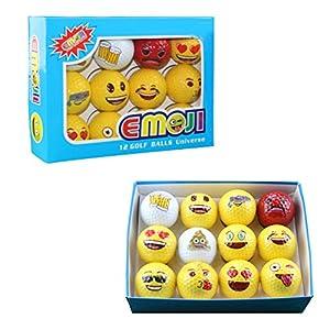 Westore Emoji Golf Balls Dozen for Men and Women - Professional Practice Golf Balls - Set of 12 Emoji Designs Golf Balls- Beer, Ninja, Kiss, Heart Eyes...