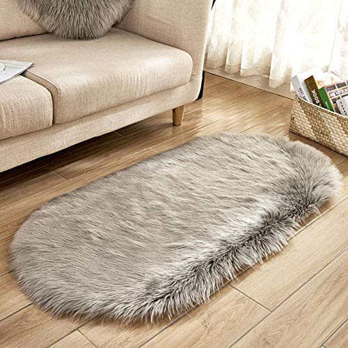 - iBaste_S Faux Fur Area Rugs Fluffy Shaggy Rug Soft Contemporary Thick Indoor Carpet Nursery Rug Oval Floor Mat Bedrooms Living Room Kids Rooms Decor