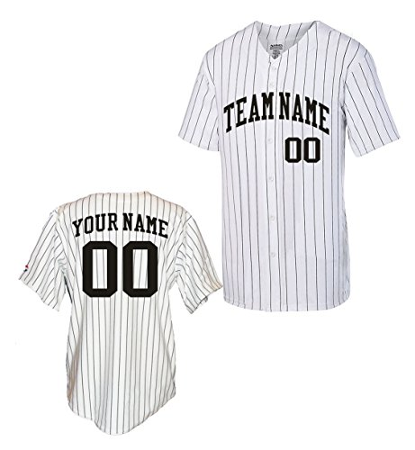 OnTheField Custom Pinstripe Baseball Jersey (Large, Black) (Best Softball Jersey Names)