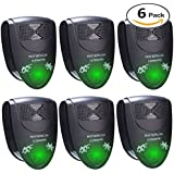 Ultrasonic Pest Repeller-Electronic Indoor Plug in Pest Control-Repels Mice, Mosquito, Cockroach and Flea by FIDGETERRELAX (Black, 6 Pack)