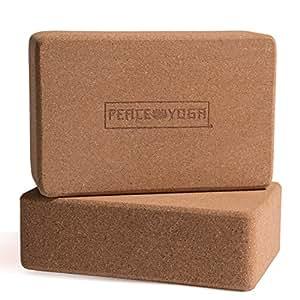 "Peace Yoga Set of 2 Cork Wood 9"" x 6"" x 3"" Yoga Blocks"