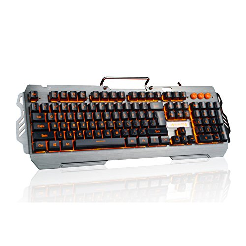 Cheap KRNELLY PK810 Wired Gaming Keyboard, Cool Orange Breathing Backlit, Phone Holder, Waterproof