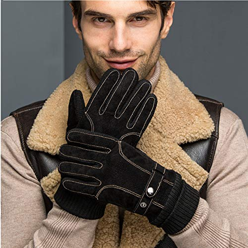 Men Winter Gloves,Cold Weather Touch Screen Texting Warm Glove with Non-Slip Suede Leather Knit Cuff Thick Fleece Lining (Black)